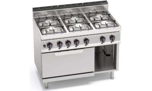 G7F6PW+FG, cucina a gas 6 fuochi su forno a gas 2/1 gn