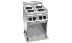 E6P4M, cucina elettrica 4 piastre tonde su vano