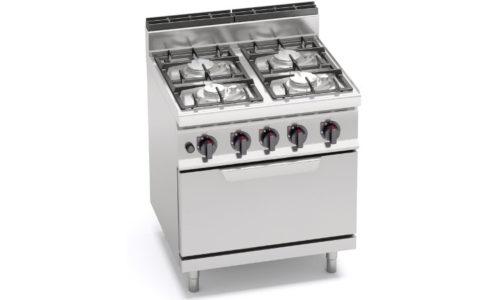 G7F4PW+FG, cucina a gas 4 fuochi su forno a gas 2/1 gn