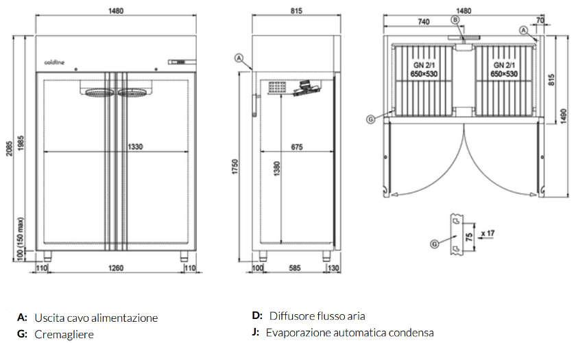 A140/2BER, Freezer armadiato Smart 1400 lt