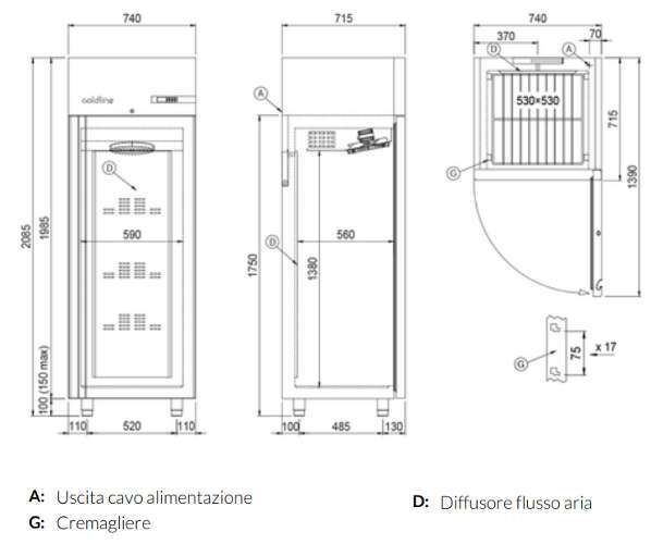 A60/1BE, Freezer armadiato Smart 600 lt