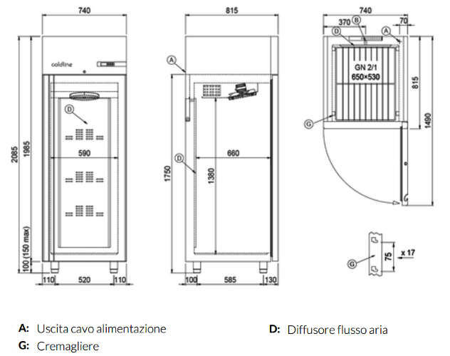 A70/1BE, Freezer armadiato Smart 700 lt