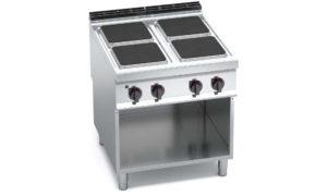 E9PQ4M, cucina elettrica 4 piastre quadre su vano