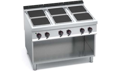 E9PQ6M, cucina elettrica 6 piastre quadre su vano