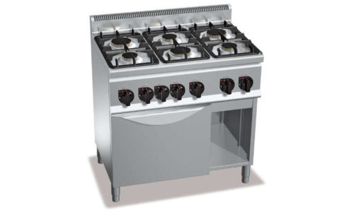 G6F6+FG1, cucina a gas 6 fuochi su forno a gas 1/1