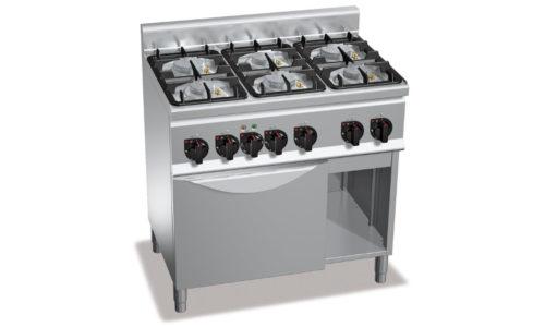 G6F6PW+FE1, cucina a gas 6 fuochi su forno el. 1/1