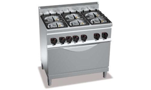 G6F6PW+T, cucina a gas 6 fuochi su tuttoforno a gas