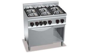 G6F6PW+FG1, cucina a gas 6 fuochi su forno a gas 1/1