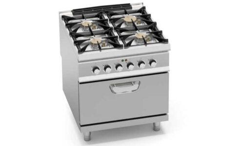 SG9F4PS+FE, cucina a gas 4 fuochi su forno elettrico 2/1 gn