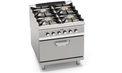 SG9F4PSP+FE, cucina a gas 4 fuochi potenziata su forno elettrico 2/1 gn