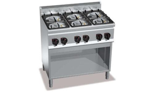 G6F6MPW, cucina a gas 6 fuochi su vano