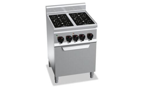 E6P4/VTR+FE1, cucina infrarosso 4 zone con forno elettrico 1/1
