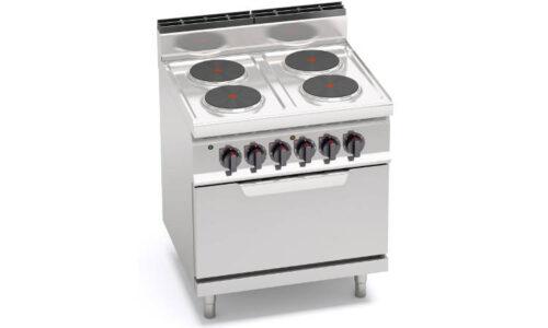 E7P4+FE, cucina elettrica 4 piastre tonde con forno elettrico 2/1 gn