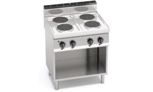 E7P4M, cucina elettrica 4 piastre tonde su vano