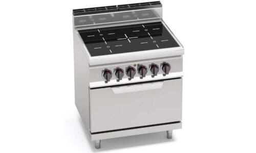 E7P4/VTR+FE, cucina infrarosso 4 zone con forno elettrico 2/1