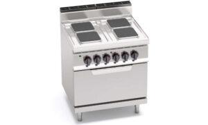 E7PQ4+FE, cucina elettrica 4 piastre quadre con forno elettrico 2/1 gn
