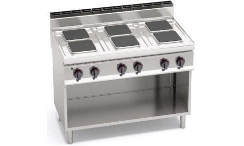 E7PQ6M, cucina elettrica 6 piastre quadre su vano