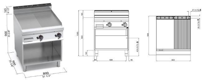 G9FM8M-2, fry top a gas piastra mista