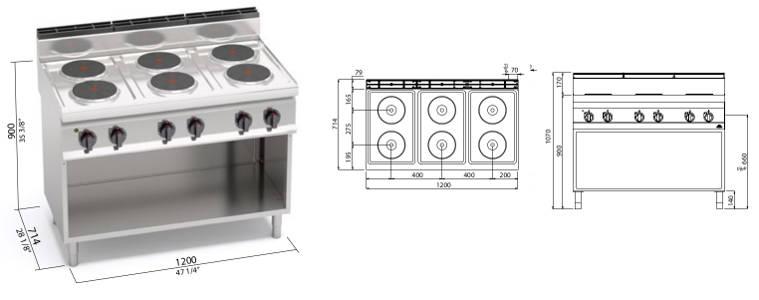 E7P6M, cucina elettrica 6 piastre tonde su vano