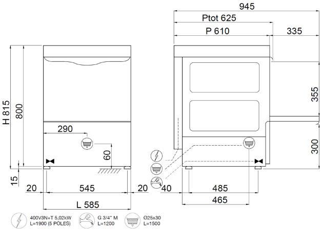 C537T, lavastoviglie sottobanco a controllo meccanico