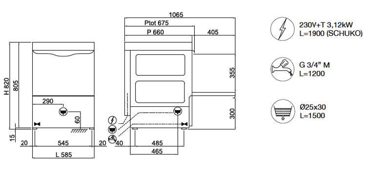 EL50E, lavastoviglie sottobanco a controllo elettronico