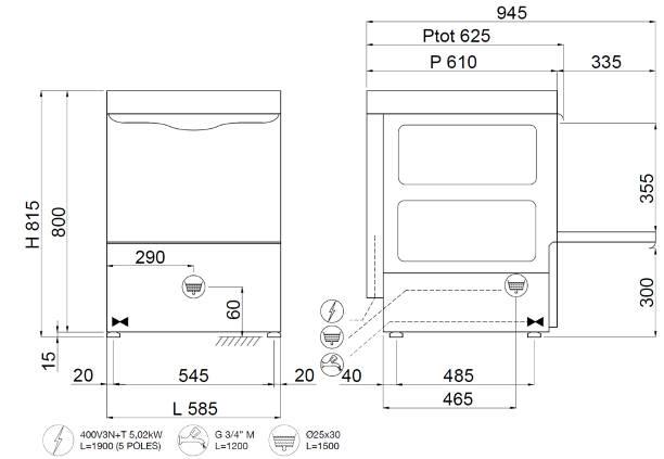 C537, lavastoviglie sottobanco con cesto 500*500